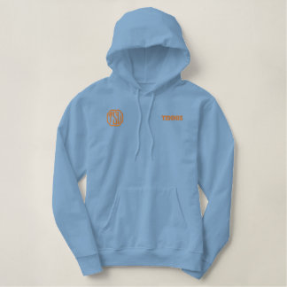 Hellblaue und orange Uni-Meister Hoodie