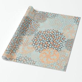 Hellblaue und TAN-Blumen-Explosion Geschenkpapier