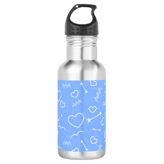 Hellblaue Valentines-Liebe-Herz-und Trinkflasche