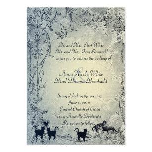 Hellblaue Vintage Schäbige Garten Katzen Hochzeit Einladung