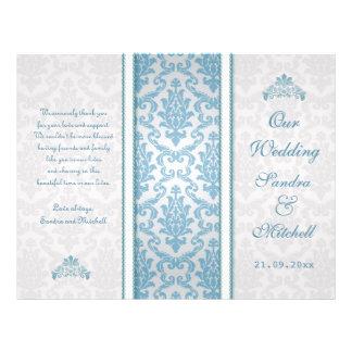 Hellblauer Damast auf silberne Hochzeits-Programm Individuelle Flyer