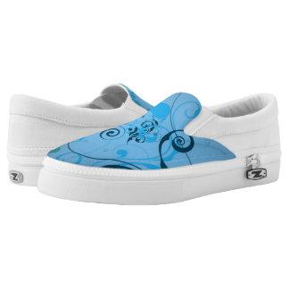 Hellblaues Blumen Slip-On Sneaker