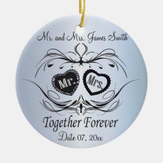 Hellblaues Hochzeits-Andenken Keramik Ornament