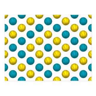 Hellblaues und Goldbasketball-Muster Postkarte