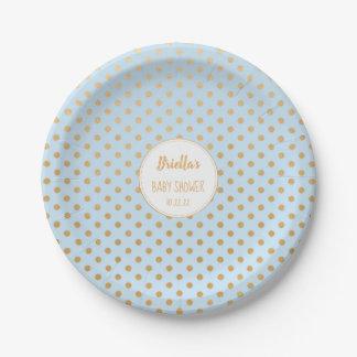 Hellblaues und Goldpunktjungen-Babypartythema Pappteller