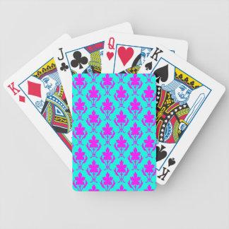Hellblaues und rosa verziertes Tapeten-Muster Bicycle Spielkarten