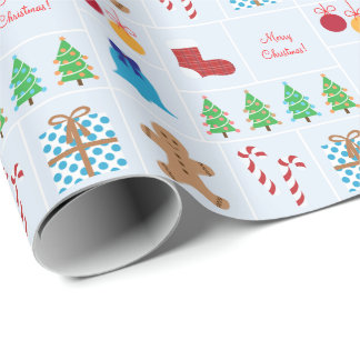 Hellblaues Weihnachtsmuster-Packpapier Geschenkpapier