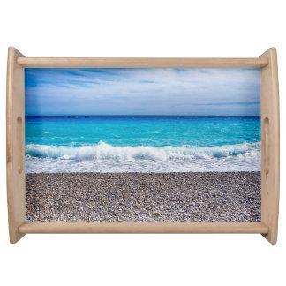 Helle Ansicht des Meeres Serviertablett