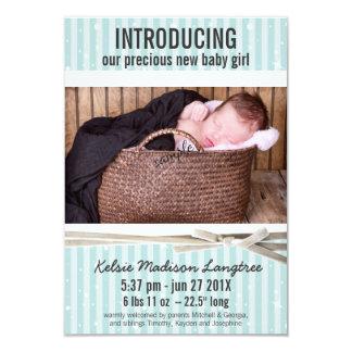 Helle Aqua-Baby-Geburts-Mitteilung 8,9 X 12,7 Cm Einladungskarte