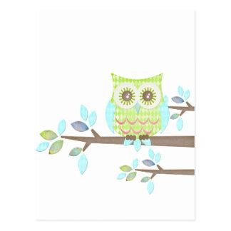 Helle Augen-Eule im Baum Postkarten
