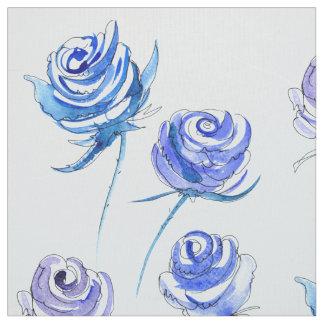 Helle blaue Rosen Stoff