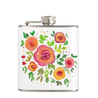 Helle Blumen-Blumenblumenstrauß, Flachmann