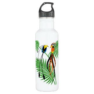 Helle bunte Paradiesvögel Edelstahlflasche