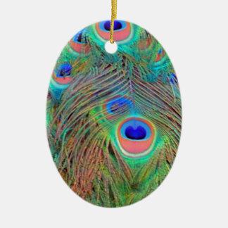 Helle bunte Pfau-Federn Ovales Keramik Ornament