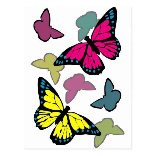 Helle bunte Schmetterlinge Postkarte