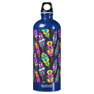 Helle bunte Stammes- Federmusterneondunkelheit Wasserflasche