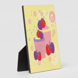 Helle Erdbeer-und Kuchen-Kunst Fotoplatte