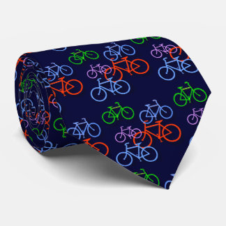 Helle Fahrräder auf Marine-Blau-Muster-Doppeltem Krawatte