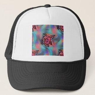 helle farbige retro inspirierte Blumen Truckerkappe