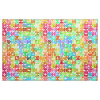 Helle FarbRetro Quadrat-Kreis-Mosaik-Muster Stoff