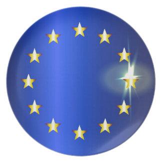 Helle Flagge EU Melaminteller