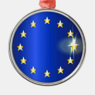 Helle Flagge EU Rundes Silberfarbenes Ornament