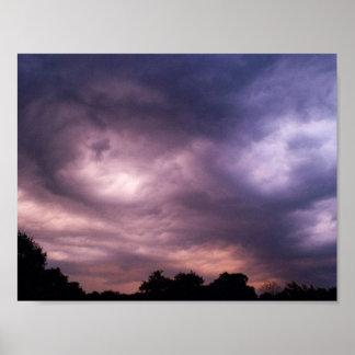 Helle Flecken im nächtlichen Himmel Poster