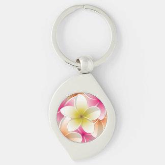 Helle Frangipani/plumeria-Blumen Silberfarbener Wirbel Schlüsselanhänger