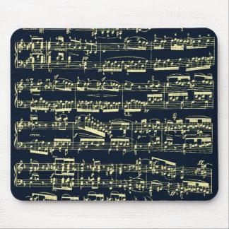 Helle gelbe Beethoven-Noten auf Blau Mauspad