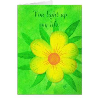 Helle gelbe Blume, leuchten Sie meinem Leben, Grußkarte