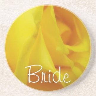 Helle gelbe glühende Rosen-Hochzeit Getränkeuntersetzer
