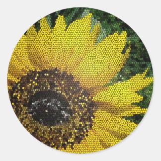 Helle gelbes Mosaik-Sonnenblume Runder Aufkleber