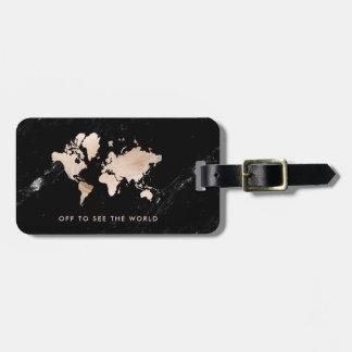 Helle GoldWeltkarte auf schwarzem Marmor Kofferanhänger