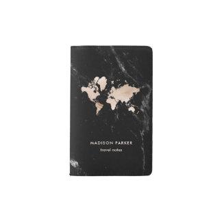 Helle GoldWeltkarte auf schwarzem Marmor Moleskine Taschennotizbuch