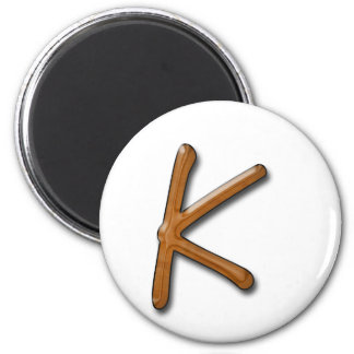 Helle hölzerne Monogramm-Magneten Runder Magnet 5,1 Cm
