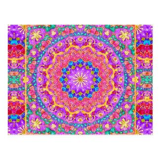 Helle Indien-Aquarell-Mandala-Postkarte Postkarte