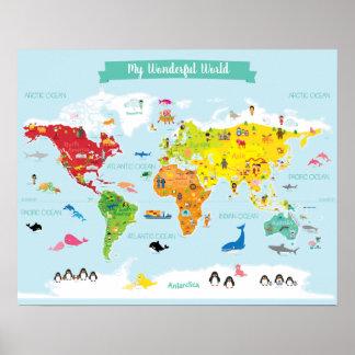 Helle KinderWeltkarte mit Illustrationen Poster