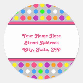 Helle kleine Punkt-Adressen-Etiketten Runder Aufkleber