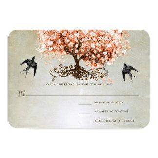 Helle korallenrote Herz-Blatt-Baum-Hochzeit lädt 8,9 X 12,7 Cm Einladungskarte