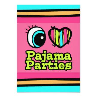 Helle Liebe-Pyjama-Partys des Augen-Herz-I 11,4 X 15,9 Cm Einladungskarte