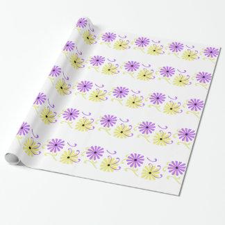Helle, lila und gelbe Blumen, Geschenkverpackung Geschenkpapier