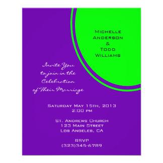 Helle lila und Limone grüne Mod-Hochzeit 11,4 X 14,2 Cm Flyer