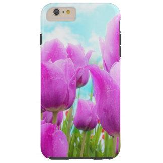 Helle magentarote weibliche Tulpe-blauer Himmel Tough iPhone 6 Plus Hülle