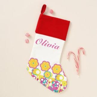 Helle mutige Baby-Mädchen-große Blumen-mit Weihnachtsstrumpf