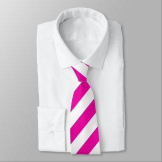Helle NeonPink-und Weiß-Streifen-Krawatte Krawatte