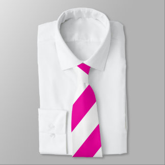 Helle NeonPink-und weißegestreifte Krawatte