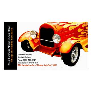 Helle orange Flammen stellten Vintages Auto wieder Visitenkartenvorlage