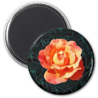 Helle orange Rose Runder Magnet 5,7 Cm