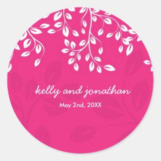 Helle Pink-Hochzeits-Aufkleber Runder Aufkleber