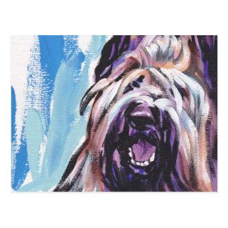 Helle Popkunst des Briard Hundespaßes Postkarte